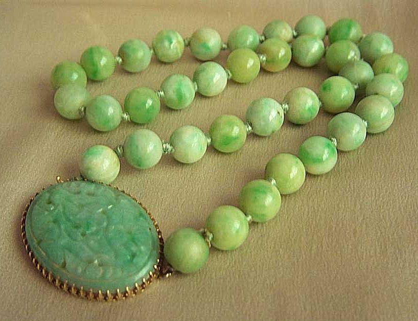 Fabulous Vintage 14kt Jadeite Jade Necklace By Walter