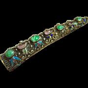 Amazing Very Fine Vintage Chinese Jadeite Jade Tourmaline Cabochon Cloisonne Silver Brooch Pin