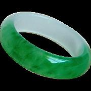Fabulous Estate Jade Green Translucent Chalcedony Bangle Bracelet 60.7 mm  76.4 g