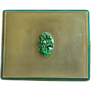 1930s Rare Elegant FILLKWIK Cigarette Case with Vintage Carved Jadeite Jade Plaque Very Collectible