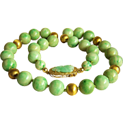 "Absolutely Amazing 14K Chinese Large Mottling Green Natural Jadeite Jade Beads Necklace 19 1/4"" Heavy 97.5 g"