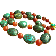 """ONE OF A KIND Stunning Vintage Chinese Natural Turquoise Carnelian Necklace 28 1/2"""" 248.9 g"""