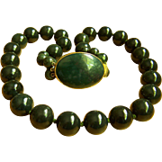 "#1 Magnificent RARE Chinese Vintage Large Hetian Inky Dark Green Near Black Jade Bead Necklace 24"" Heavy 260 g"