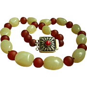 """Fabulous Vintage Chinese Hetian Mutton Fat Jade Carnelian Beads Necklace 24 1/2"""" 194.1 g"""