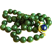 "Fabulous Vintage Natural Deep Rich Green Jadeite Jade Beads Lapis Lazuli Clasp Necklace 24 1/2""  110 g"