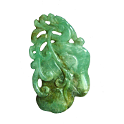 "Amazing Vintage Chinese Carved Chi Dragon on Lily Pod Natural Jadeite Jade Pendant 2 1/4"" x 1 7/16""  20.1 g"