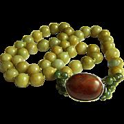 "Extremaly Rare Vintage Honey Green Jadeite Jade Necklace 29 1/2""  Heavy 190.5 g  - 1 of 3"