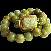 "Extremaly Rare Vintage Honey Green Jadeite Jade Necklace 28"" Heavy 181.2 g - 2 of 3"