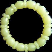 Fabulous Vintage Chinese Hetian Celadon Jade Lotus Root Bangle Bracelet 57.4 mm 57.3 g