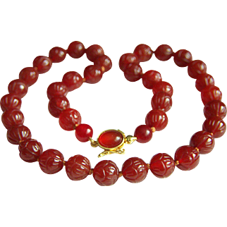 "Amazing Estate Carved Jade Red Carnelian Sterling Silver Necklace 18 1/4"" 55.7 g"