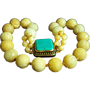 """ONE OF A KIND - Vintage Large Chinese Carved Golden Jade Beads and Unique Huge Turquoise Clasp Necklace 20"""" 183.8 g"""
