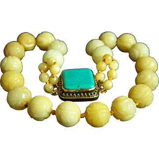 "ONE OF A KIND - Vintage Large Chinese Carved Golden Jade Beads and Unique Huge Turquoise Clasp Necklace 20"" 183.8 g"