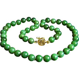 "Fabulous Vintage Chinese Deep Rich Green Jade 14K Clasp Necklace 18""  40.3 g"