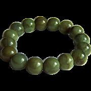 "Fabulous Vintage Large Natural Jadeite Jade Bead Bracelet 64.6 g -  7 1/2"""