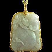Spectacular Vintage 14K Carved Lavender Jadeite Jade Pendant 28.3 g