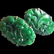 Circa 1930s Stunning Carved Intensive Vibrant Green Jadeite Jade Earrings 6.1 g