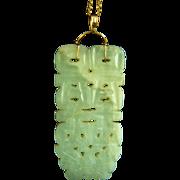 Amazing Vintage Large 14K Chinese Hetian Celadon Carved Jade Pendant 35.5 g