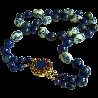 "Amazing Vintage Chinese Blue & White Hand Painted Porcelain Beads and Lapis Lazuli Necklace 27"" 127 g"