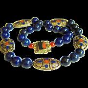 "Amazing Vintage Large Tibet Lapis Lazuli Coral Mosaic Brass Beads & Lapis Lazuli Beads Necklace 170.8 g 27"""