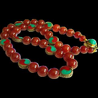 "Amazing Vintage Tibet Turquoise Coral Tai Chi Symbol Inlay Mosaic Beads & Carnelian Beads Necklace 105g  26"""