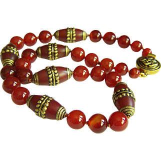 """Fabulous Vintage Large Tibet Brass Decorated Carnelian Beads Necklace 160.7 g 25"""""""