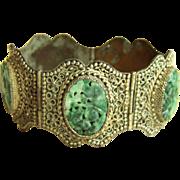 """Vintage Chinese Export Carved Jade Filigree Silver Over Copper Bracelet 55.3 g   6 7/8""""+"""
