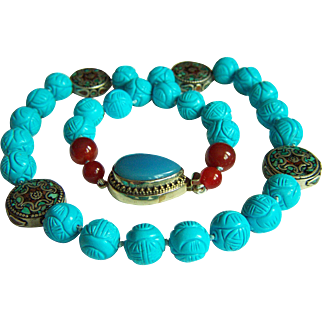 """ONE OF KIND Vintage Chinese Tibet Turquoise Coral Inlay Mosaic Beads, Chalcedony Clasp Necklace 213.8 g  27"""""""