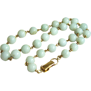 """Vintage Early Unsigned MINGS MING'S Unusual Marked 13 1/2K White Jadeite Jade Choker Necklace 16"""""""