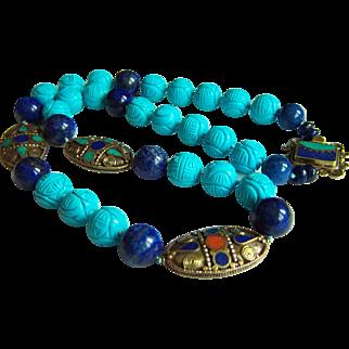 """Amazing Vintage Tibet Lapis Lazuli Turquoise Inlay Mosaic Beads Necklace 216.8 g  29 1/2"""""""