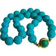 """Amazing Vintage Chinese Carved Turquoise Necklace 20 1/4""""  144 g"""