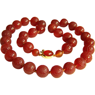 """Amazing Sterling Silver Necklace of Vintage Chinese Carved SHOU Carnelian Beads 19 1/4""""  83.2 g"""
