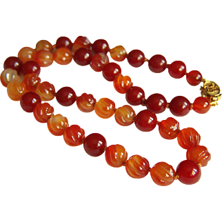 """Vintage Chinese Carved orange & Smooth Red Carnelian Beads Necklace 19 1/4"""" 55.1 g"""