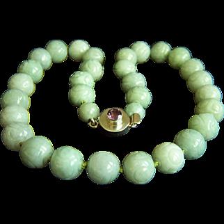 "Vintage Chinese Carved Jadeite Jade Sterling Silver Necklace 20"" 138.7 g"