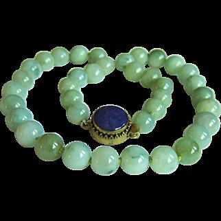 "Fabulous Vintage Translucent Jadeite Jade Lapis Lazuli Clasp Necklace 22"" 149.2 g"