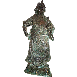 Amazing Rare Antique Large Heavy Chinese Bronze Quan Gong Statue