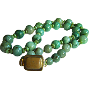 "Stunning Vintage Large Jade Bead Necklace 26"" Heavy 199.6 g"