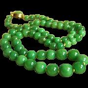 "Vintage 14K Vivid Green Jadeite Jade Necklace 25"" 51.4 g"