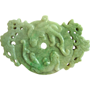 Vintage Large Chinese Double Sides Carved Chi-Dragon Jadeite Jade Pendant 139 g