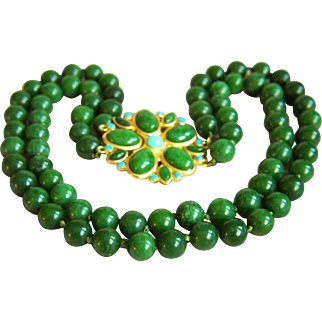 Stunning Vintage Nephrite Rich Green Jade Double Strand Necklace with Fancy Clasp 130.4 g  18 -20""