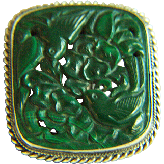 Extremely RARE Vintage Chinese Export Jade Green Carved Malachite Silver Dress Clasp Pin 11.5 g