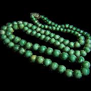 "Fabulous Vintage 10K Jade Necklace 28 1/2""  39.5 g"