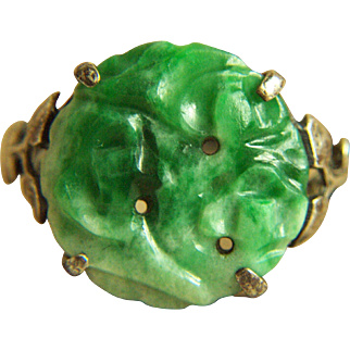 Circa 1930 Stunning Vintage Carved Jadeite Jade Sterling Silver Ring 2.9 g Size 7 1/4