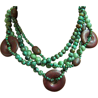 Fabulous Vintage Jade Turquoise Copper Beads 4 Strands Necklace 187.5 g 17""