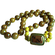 "Amazing RARE Vintage Honey Rustic Brown Jadeite Jade Beads Necklace 137.7 g 21.5"""
