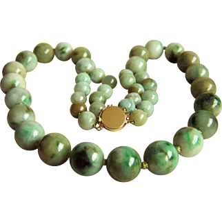 Extremely RARE Vintage Large Natural Jadeite Jade Beads 14K Necklace 167.9 g  21""