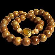 """Fabulous Rare Vintage Honey Brown Jadeite Jade Beads Necklace 134.4 g   20"""""""
