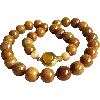 Fabulous Rare Vintage Honey Brown Jadeite Jade Beads Necklace 134.4 g   20""