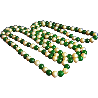 "Amazing Estate Vintage Long Jade and Pearl Necklace 48""  107.2 g"