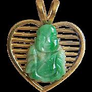 Fabulous Precious Estate Vintage Designer Signed Buddha Jadeite Jade Pendant