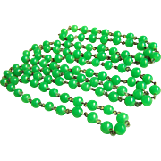 "Circa 1930's Rare Amazing Long Jade Green Peking Glass Flapper Necklace 52"" 79.4 g"